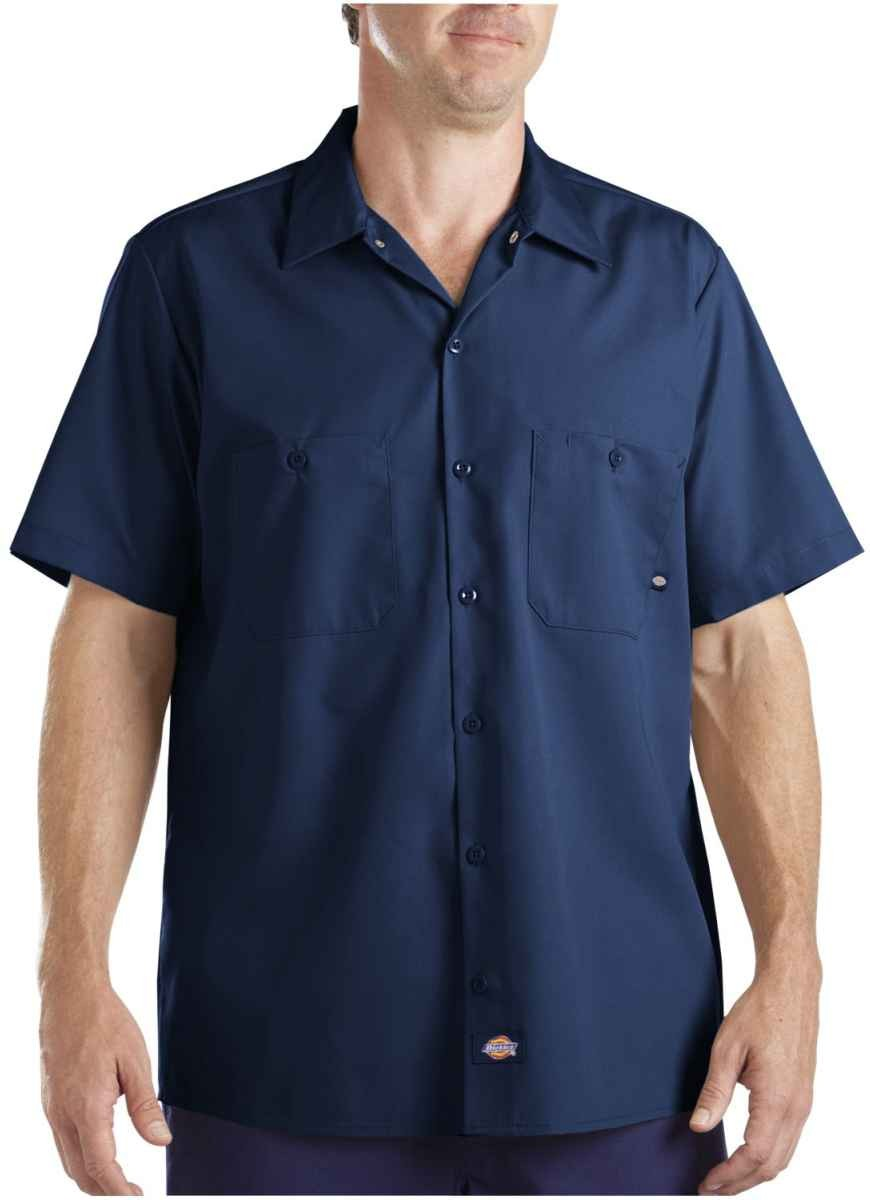 Dickies 65 polyester 35 cotton industrial short sleeve for Dickies short sleeve plaid shirt