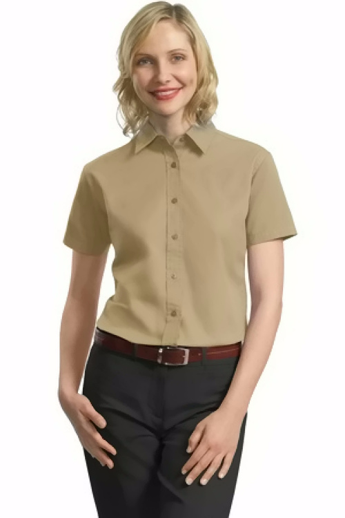 Port authority ladies short sleeve value cotton twill for Women s short sleeve button down cotton shirts