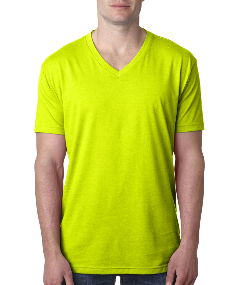 Next level men 39 s cvc v neck tee for Neon green shirts for men